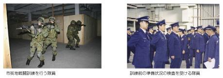 市街地戦闘訓練を行う隊員 訓練前の準備状況の検査... 隊員個々の訓練と部隊の訓練 第5章 国民